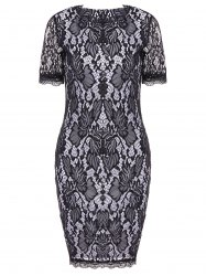 Lace Hook Patch Pencil Dress with Sleeves - BLACK