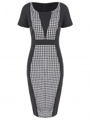 Round Neck Checked Pencil Dress