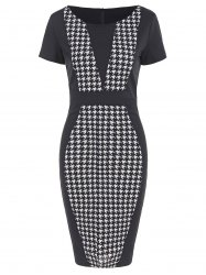 Houndstooth Pencil Dress with Sleeves