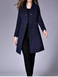 Snap Button Pockets Design Woolen Coat