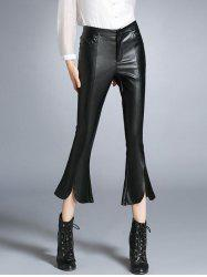 Faux Leather Furcal Flare Pants -