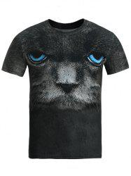 Round Neck 3D Blue Eye Cat T-Shirt