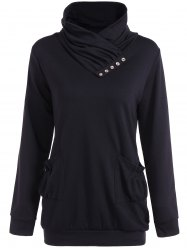 High Neck Ruched Pockets Sweatshirt