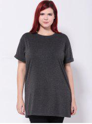 Longline Hemming Sleeves T-Shirt -