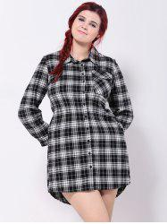 Flap Pocket Plaid Asymmetric Shirt Dress