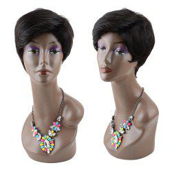 Masculine Short Straight Side Bang Synthetic Capless Wig - BLACK
