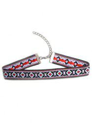 Square Embroidered Choker Necklace
