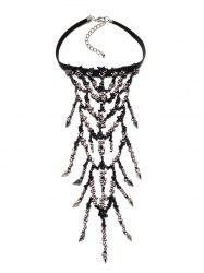 Hollowed Rhinestone Branch Necklace -