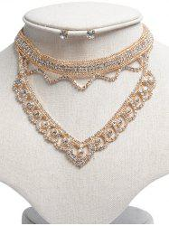 Rhinestone Hollowed Jewelry Set - GOLDEN
