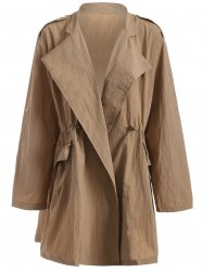 Plus Size Drawstring Trench Coat with Pocket - CAMEL