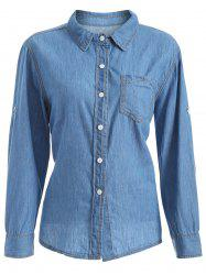 Plus Size Chambray Shirt with Pocket -