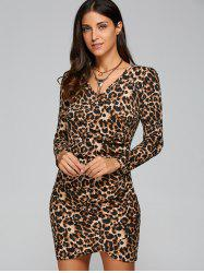 Long Sleeve Leopard Print V Neck Short Bodycon Dress