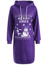 Drawstring Long Sleeve Christmas Hoodie Dress -