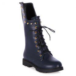 Rivet Eyelet Lace-Up Combat Boots