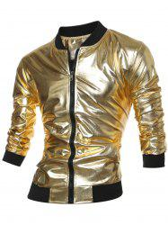 Stand Collar Zippered Metallic Jacket - GOLDEN XL