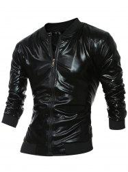 Stand Collar Zippered Metallic Jacket