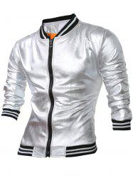 Striped Hem Fleece Lining Zippered Metallic Jacket