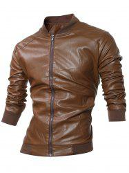 Stand Collar Rib-Hem Zip Up Faux Leather Jacket - COFFEE