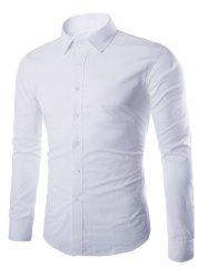 Turn-down Collar Button Up Plain Shirt