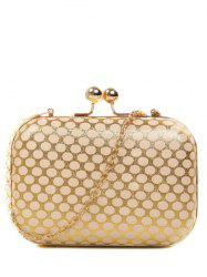 Kiss Lock Polka Dot Metal Evening Bag - GOLDEN