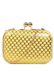 Kiss Lock Polka Dot Metal Evening Bag - YELLOW
