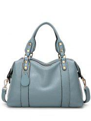 Metal Textured Leather Zipper Tote Bag - LIGHT BLUE