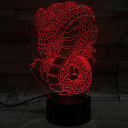 Creative 3D Visual Colorful Atmosphere Snake Shape LED Night Light - COLORFUL