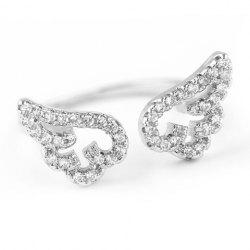 Cute Rhinestone Angel Wings Finger Cuff Ring - SILVER