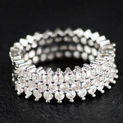 Rhinestoned Circle Engagement Ring - SILVER