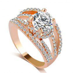 Rhinestone Hollow Out Engagement Ring - GOLDEN