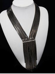 Tiered Box Chain Rhinestone V Shape Necklace