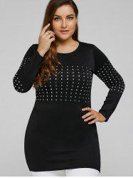 Long Sleeve Plus Size Studded Top -