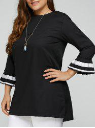 Contrast Pleated Cuffs Plus Size Top