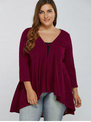 Deep V Neck Flowy Plus Size Top -