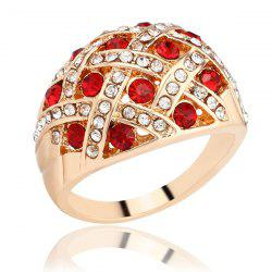 Woven Rhinestone Curved Finger Ring - CHAMPAGNE 20