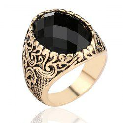Carved Burnished Faux Gem Finger Ring - CHAMPAGNE