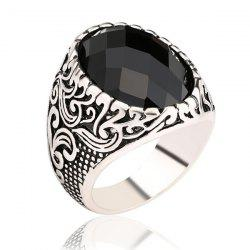 Carved Burnished Faux Gem Finger Ring