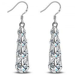 Teardrop Rhinestone Tiered Hook Earrings