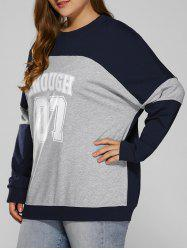 Color Block Plus Size Sweatshirt - BLUE+GRAY