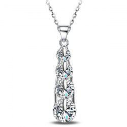 Tiered Water Drop Rhinestone Necklace - SILVER WHITE
