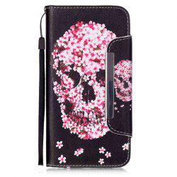 Floral Skull Pattern PU Wallet Card Slot Cover Case For iPhone 6S Plus