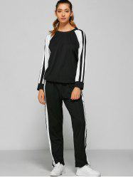 Raglan Sleeve Striped Sweatshirt + Pants