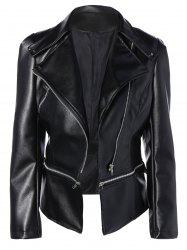 Zippered Length Adjustable Faux Leather Biker Jacket