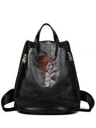 PU Leather Embroidery Zippers Backpack - BLACK