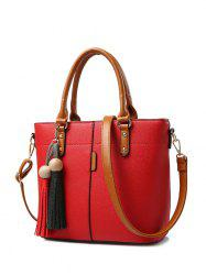 Metal Tassels Colour Spliced Tote Bag