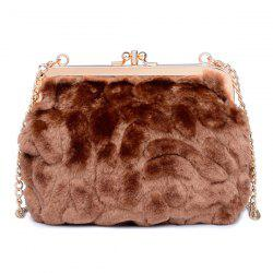 Metal Trimmed Faux Fur Evening Bag - COFFEE