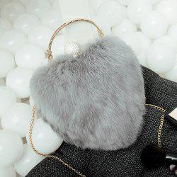 Metal Faux Fur Heart Shape Evening Bag - GRAY