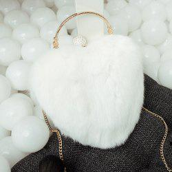 Metal Faux Fur Heart Shape Evening Bag