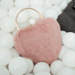 Metal Faux Fur Heart Shape Evening Bag - PINKBEIGE