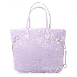 Sequins PU Leather Spliced Handbag